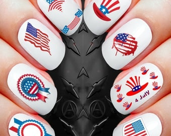 35 Nail Art Decals - America July 4th Independence day american flag assortment waterslide stickers *buy 1 get 1 of our choice free*