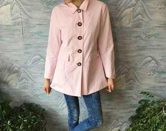 Womens Light Pink Classic Trench Coat Romantic Pink Raincoat Size Small to Medium