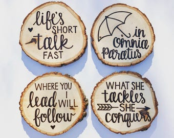 Gilmore Girls Coasters | Oversized Coasters | Wood Burned | Basswood | Rustic Wood Slice Coasters