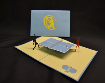 3-D Table Tennis Pop-Up Card