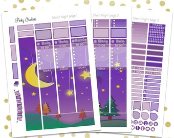 Silent Night Weekly Picture Kit for Erin Condren   Printable   Includes Blackout Files for Easy Cutlines