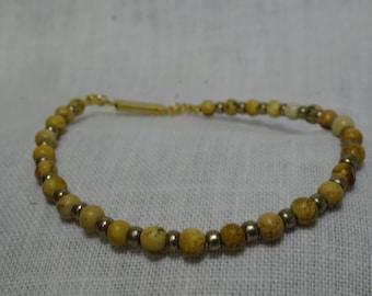 "Picture Jasper with Pewter glass beads 7.375"" Bracelet (PJ4B01-17)"