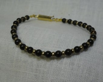 "Black Brown Obsidian Bracelet with Pewter glass beads 7.375"". ( BBrb01-16)"