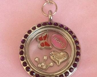 SALE Daughter memory locket, daughter floating locket, princess locket, daughter necklace, personalised daughter gift, personalised locket