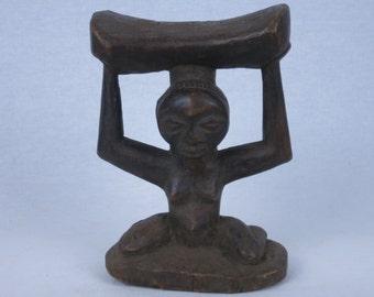 African tribal art headrest-LUBA- D.R. Congo