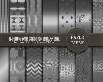 Silver digital paper, Silver patterns, Silver scrapbooking paper, Geometric silver, Metallic digital paper, instant download
