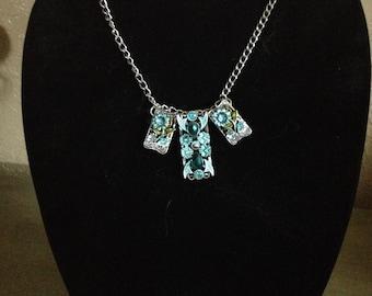 Sliver and Blue Botanical Necklace