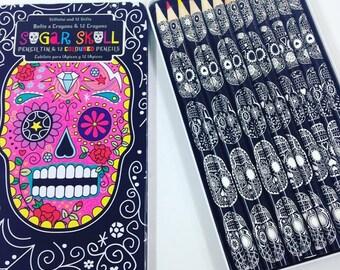 Sugar Skull Colouring Pencil Tin, Drawing, Artist, Kids, Office