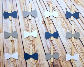 Bow Tie Clothespin Photo Clips - Navy, Grey and White