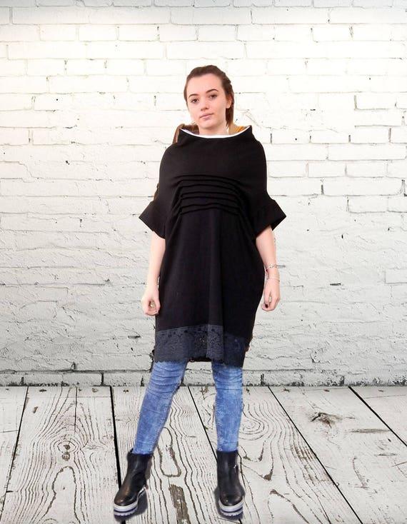 Flattering Oversized Black Loose Dress Tunic, Extravagant Dress, Soft Cotton Tunic, Plus Size Tunic, Party Elegant Tunic, Clubwear,Pagan