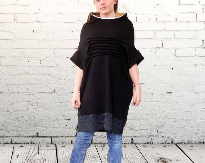 Flattering Oversized Black Loose Dress Tunic, Lace Maxi Dress, Soft Cotton Tunic, Plus Size Tunic, Party Elegant Tunic Tunic, Clubwear,Pagan