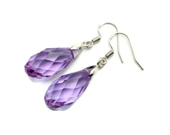 Sterling Silver Earrings, Lilac Crystal Briolette Earrings. Teardrop Earrings, dangle earrings, drop earrings. Earth Charisma Jewelry