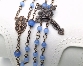 Ornate Vatican Style Antique Copper Rosary / Semiprecious Stone Rosary for Men / Handmade Rosary