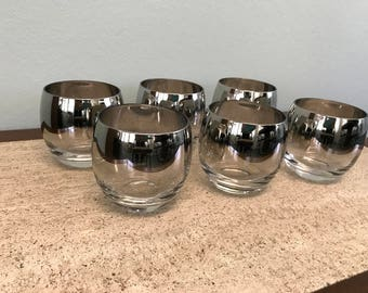 Mid Century Silver Ombre Roly Poly Glasses - Set of 8