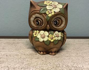 Cute Vintage 1970s Ceramic Owl with Yellow Flowers and Green Leaves
