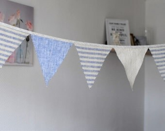 Fabric flag banner Trangle banner Linen bunting  1st Birthday banner Pennants banner Photo prop Party banner decoration Natural blue striped