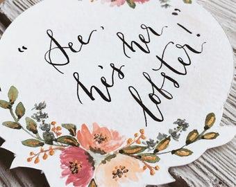 Handwritten Custom Banner Cake Topper | Calligraphy | Watercolour