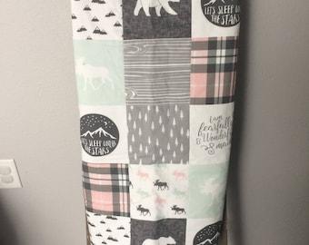 Baby Quilt | Woodland | Pink | Aqua