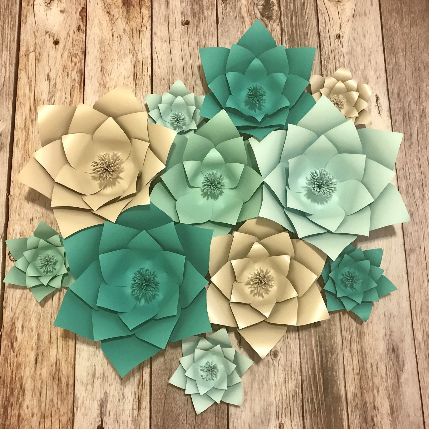 Tiffany Blue Ombre Paper Flowers Backdrop 3D Flowers Baby