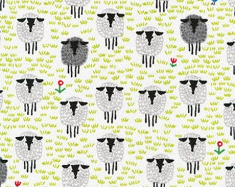 """Fabric Remnant - Sheep in White - Happy Drawing Collection - Cloud 9 Organics - 4""""x50"""""""