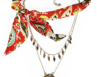 TCFF Leaf and Moon Layer Gold Chain Scarf Necklace