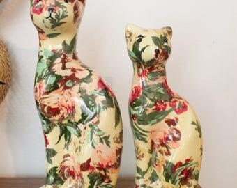 Pair of Vintage Floral Printed Paper Mache Cat Statues