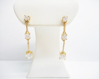 Vintage Drop Earrings, Vermeil Earrings, Sterling Silver Vermeil Gold Plated Three Cubic Zirconia Dangle Earrings #2067