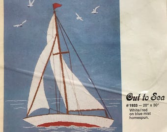 "Out To Sea Needlepoint Kit Sailbot  20"" x 30"""