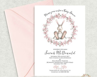 Bunny Baby Shower Invitation Printable, Printable Pink Girl Baby Shower  Invitation, Editable Template,