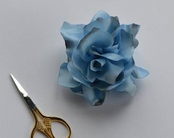 Pale Blue Satin Flower Pin - Flower Broach - handmade Broach