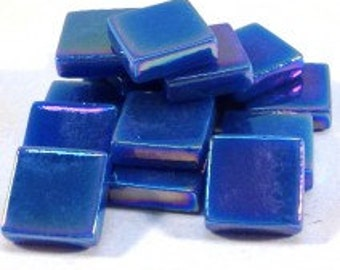 12mm Square Mosaic Tiles - Kingfisher Blue Pearlised - 50g