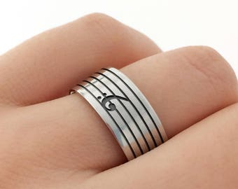 Sterling Silver Bass Clef Band Ring, Bass Clef Band Ring, Bass Clef Silver Ring, Music Jewelry, Music Ring, Music Teacher Gift, Music Gift