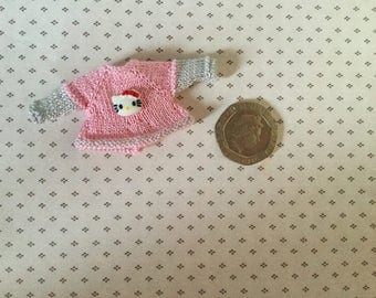"Dolls house Miniature 1/12th knitted toddler doll ""Hello Kitty"" top"