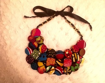 Ankara Button Statement Necklace