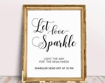 Let Love Sparkle Sign, Wedding Signage, Custom Wedding Signs,Sparkler Send Off Sign, Sparkler Sign, Light The Way, Sparkler Send Off