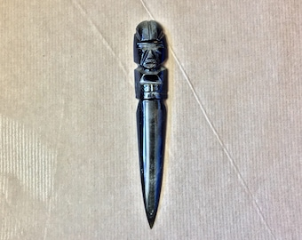 Antique obsidian letter knife 1970s, Mexico. Decorative craftsmanship for your home