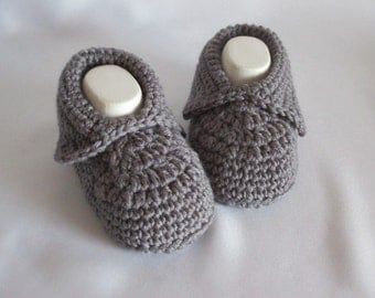 Warm baby shoes selfmade in dark grey Merino approx. 11 cm foot approx. size 17/18