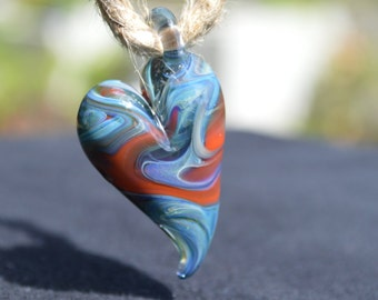 Hand Blown Glass Pendant - Heart