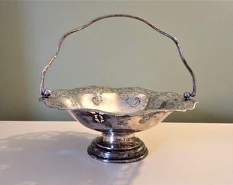 Antique Silver Plate Bon Bon Dish Fruit Bowl Pedestal Bowl EPNS Made In England