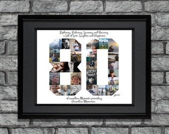 80th Birthday Photo Collage - 80th Birthday Poster - 80th Birthday Gift - 80th Anniversary Gift - 80th Birthday Decor - Custom Photo Collage