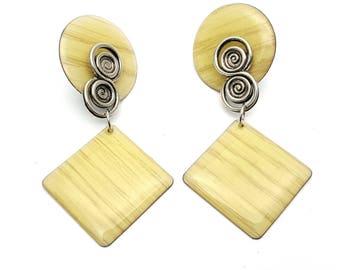 Clip On Simple Yellow Geometric Lightweight Plastic Drop Earring Vintage 80s Dangle Gypsy Swirls Modern