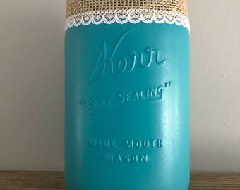 Large teal painted mason jar with beautiful lace and burlap trim, vase, utensil holder, brush/pen holder