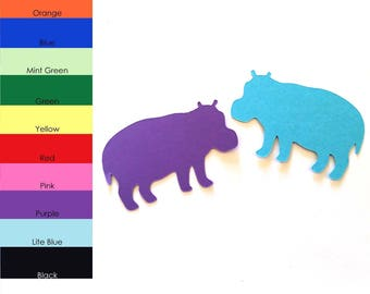 25 Pack - Paper Hippo Shape, Hippo Die Cut, Hippo Cut Out, Paper Animal Shapes, Paper Party Supplies