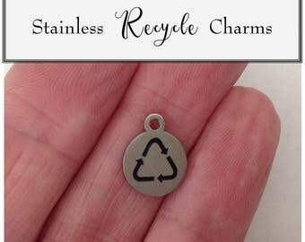 Stainless Recycle Charm, Silver Recycle Charm, Recycle Tag Charm, Stainless Steel, Stainless Tag Charm, Stainless Tag Charm