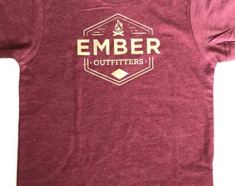 Red/ Maroon Kids Logo Tee with Gold Logo
