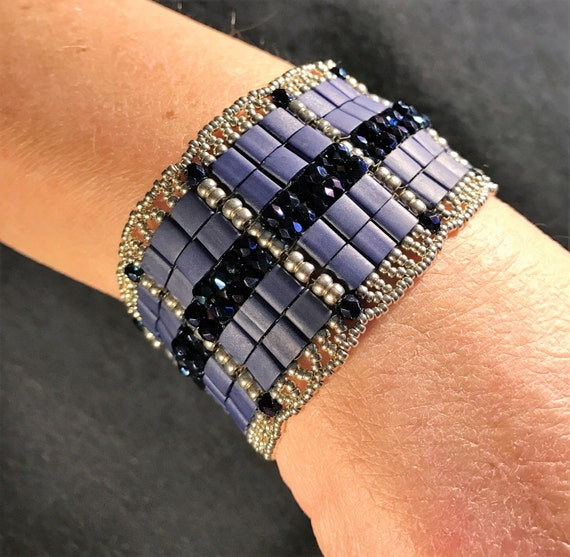 NO 153 Hand Beaded Crystal and Glass Bracelet