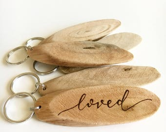Personalized driftwood Keychains, wood burned keychains