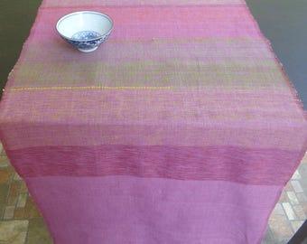 Pink violet table runner, handloom runner, handmade runner