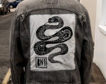 Slither Lino Print Back Patch