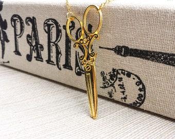 Scissor Necklace, Gold Dollhouse Scissors,  Gold Scissor Charm Necklace, Scissor Pendant Necklace, Hairstylist Scissors Necklace